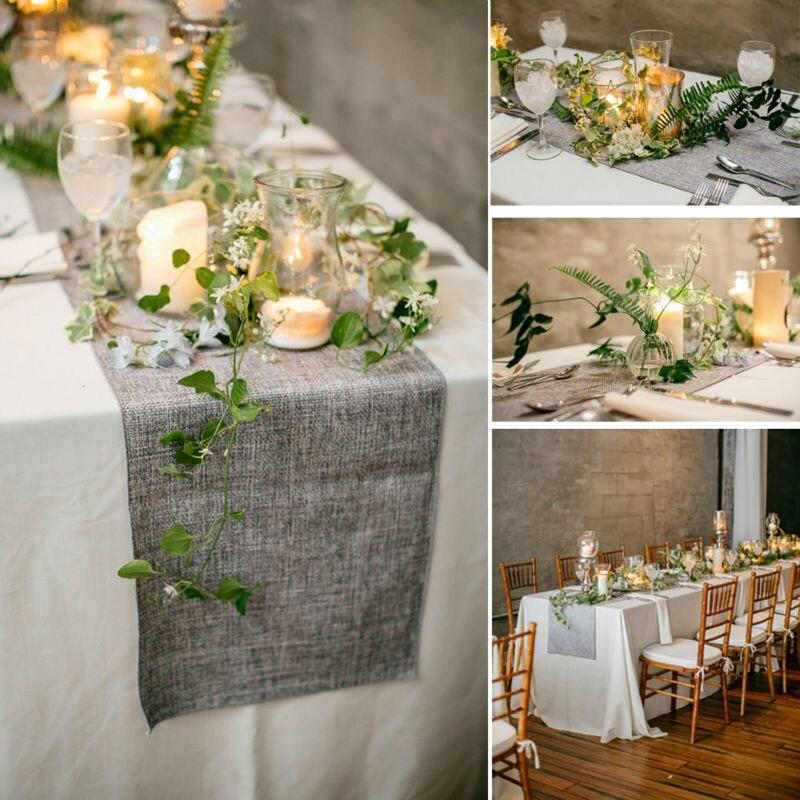 Chemin de Table Vintage en toile de Jute, imitation toile de Jute naturelle, gris/kaki, décoration de Table pour Restaurant, mariage, noël