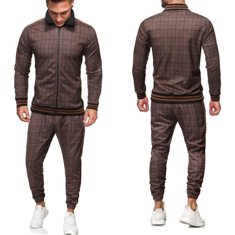 موضة ثلاثية الأبعاد الطباعة السادة رياضية الرجال مجموعة بدلة رياضية الرجال مجموعات سستة البلوز Sweatpants ملابس رجالي 2 قطع مجموعات