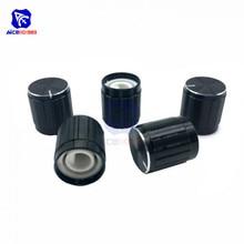 Diymore 5 unids/lote, codificador de eje tipo D, perillas de interruptor de potenciómetro, 15mm de diámetro. x 16,5mm de altura, tapa de Metal negro