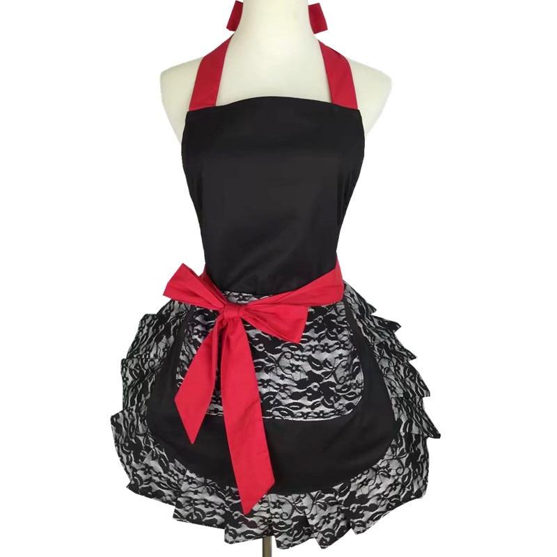 Delantales de cocina Retro para mujer chica algodón cocina vestido Vintage delantal Navidad dorsales para adultos