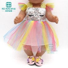 Clothes for doll Sequined dress shoes fit 43-45cm baby toy new born doll and American doll accessori