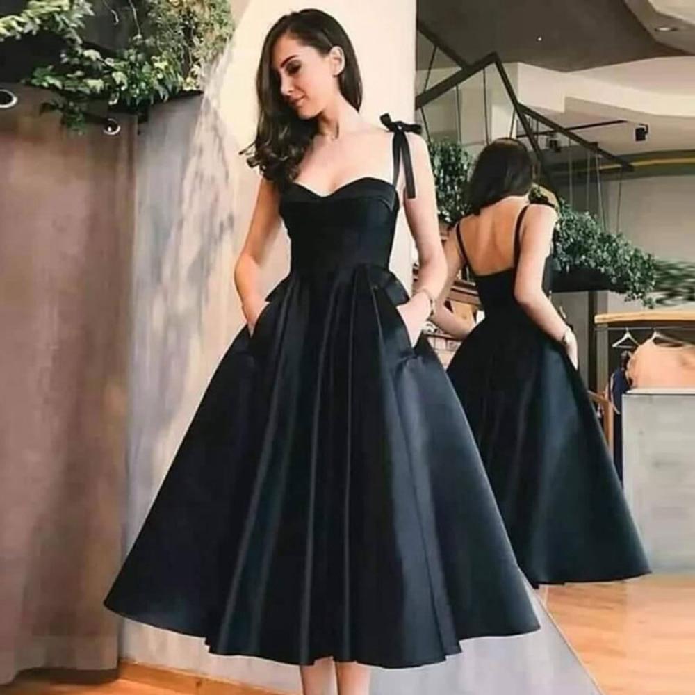 Siyah kısa kokteyl elbiseleri 2020 spagetti sapanlar sevgiliye boyun resmi parti Backless balo abiye saten elbise kokteyl femme