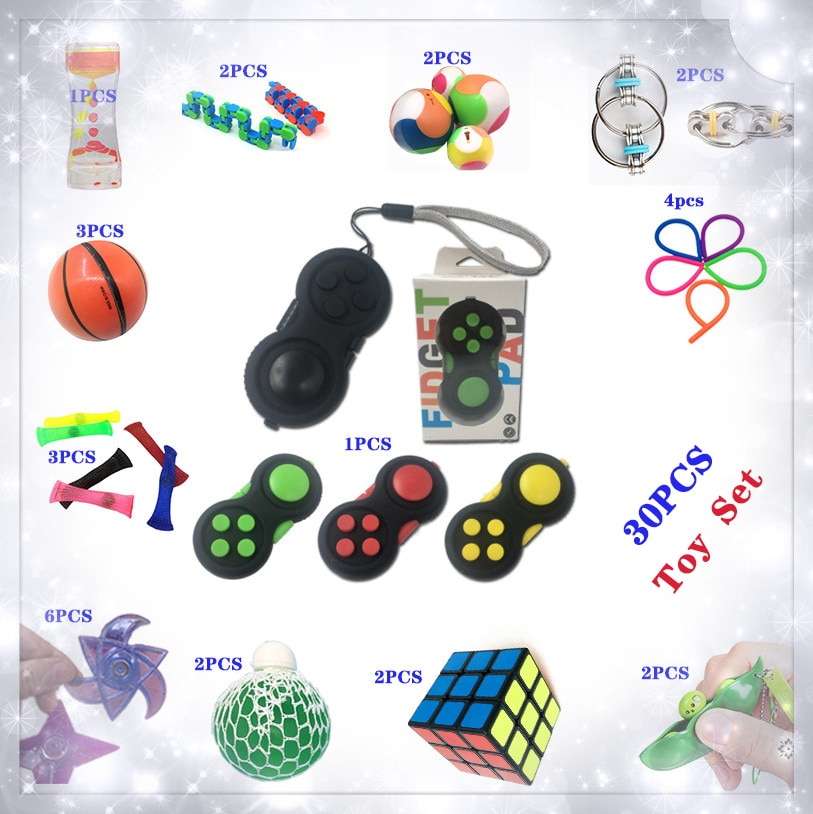 New Style Squeeze Toy Including 30 Pieces Extrusive-Solving Fidget Kids Toys Hot Selling Various Styles Toy Set Wholesale