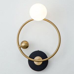 Led Wall Lamps 2021 Nordic New Living Room Sconce Simple Modern Creative Hotel Restaurant Bedroom Glass Ball Ring Bedside Light