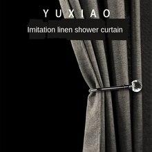 Rideau de douche Imitation lin rideau de séparation de salle de bain Polyester Non perforé imperméable et résistant à la moisissure rideau épais