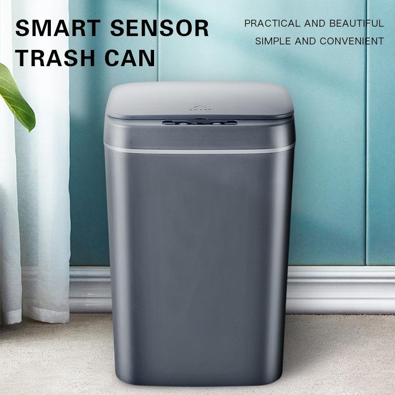 16L حاوية القمامة الذكية التلقائي صندوق قمامة بجهاز استشعار الذكية الاستشعار سلة مهملات كهربائية المنزل القمامة يمكن للمطبخ الحمام القمامة