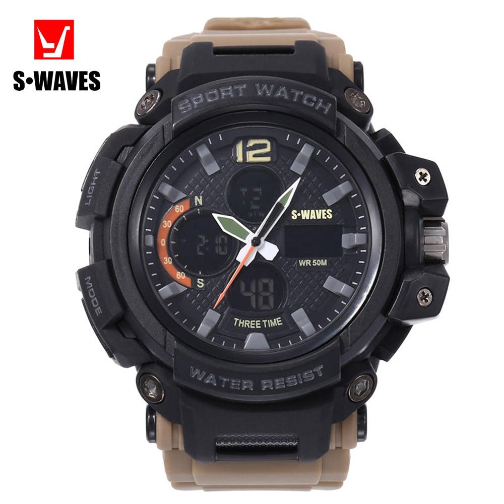 Big Brand SWAVES Men Watch Quartz Casual Waterproof Reloj Hombre Clock Dual Display Plastic Alarm Clock Khaki Men's Wristwatches