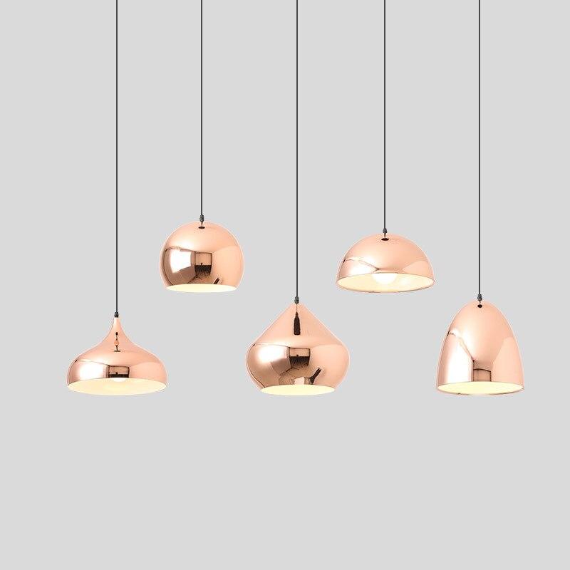 Mirror Pink Gold Pendant Lamp Creative Modern Ceiling Suspension Hanging Light Metal Pendant Lighting Fixture for Dining Room