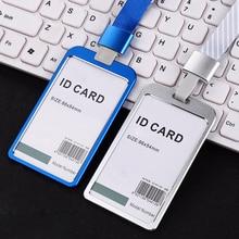 Funda de tarjetas de aleación de aluminio para mujer, portatarjetas de trabajo, tarjetas de identificación, tarjetas de identificación, cordón, bolsas de Metal