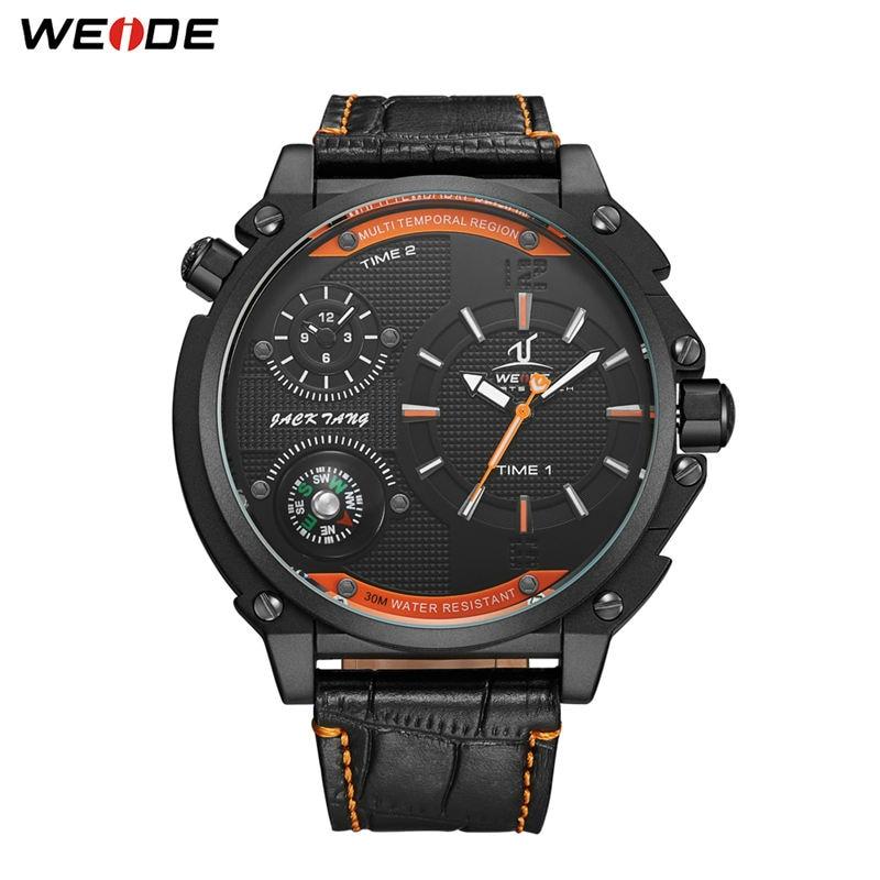 ساعة يد رجالية WEIDE عسكرية فاخرة ماركة رجال أعمال ساعات كرونوغ ساعة يد بحزام من الجلد ساعة رجالية