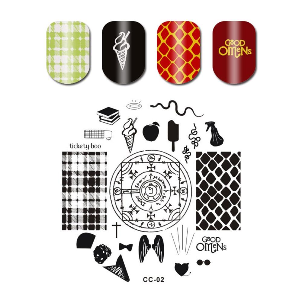 1pc ronda placas de sellos para uñas Multi-patrones 5,5*5,5 cm del clavo sello Plantilla de imagen de manicura de Gel UV herramienta uñas plantillas # C