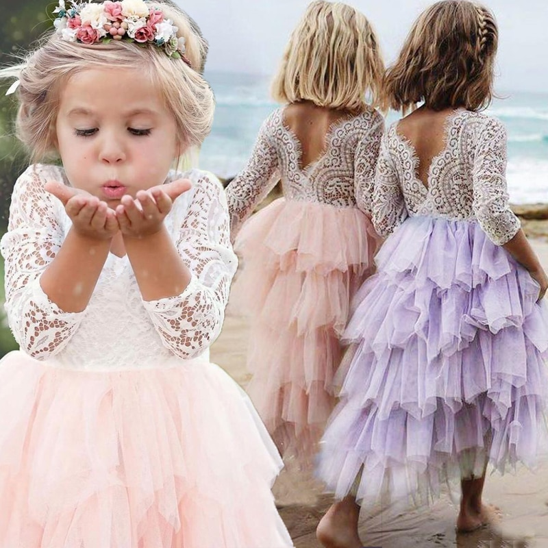 flower girls pageant dress kids wedding dresses for girl vestidos 2020 children lace white princess robe kid party evening gown Summer Pink Flower Girl Dresses Princess Pageant Lace Girls Special Dress Comunion Sexy Children Images Wedding Party Dress Gown