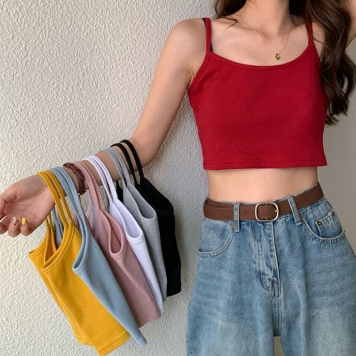 New Fashion Women Sexy Solid Summer Camis Crop Top Female Casual Tank Tops Vest Sleeveless Cool Streetwear Club High Street