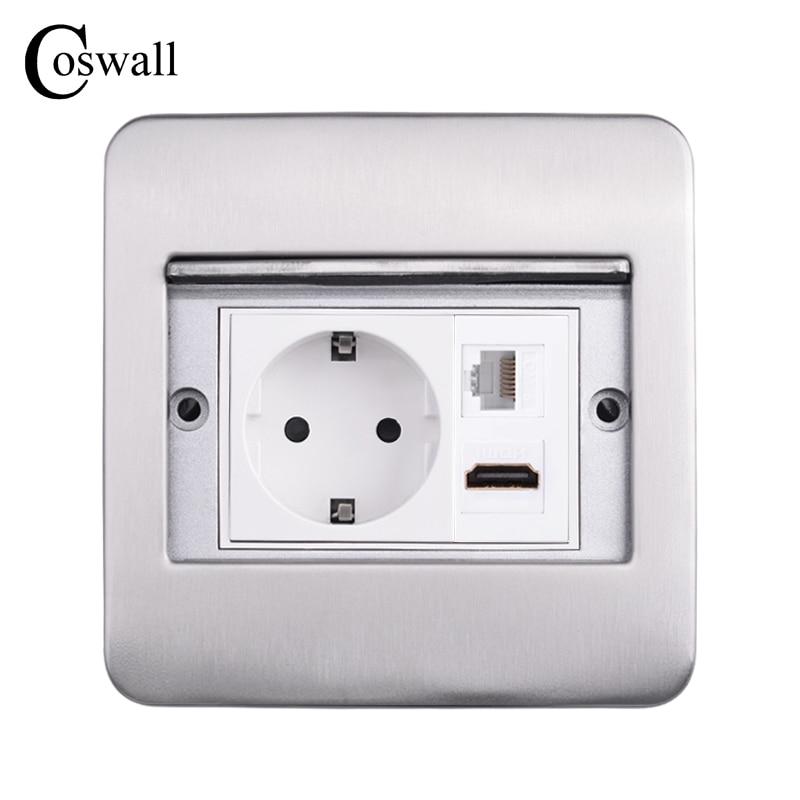 Coswall الفولاذ المقاوم للصدأ غطاء مخفي الطابق/مقبس طاولة الاتحاد الأوروبي/الفرنسية المخرج منفذ شحن USB تلفزيون الإنترنت HDMI متوافق جاك