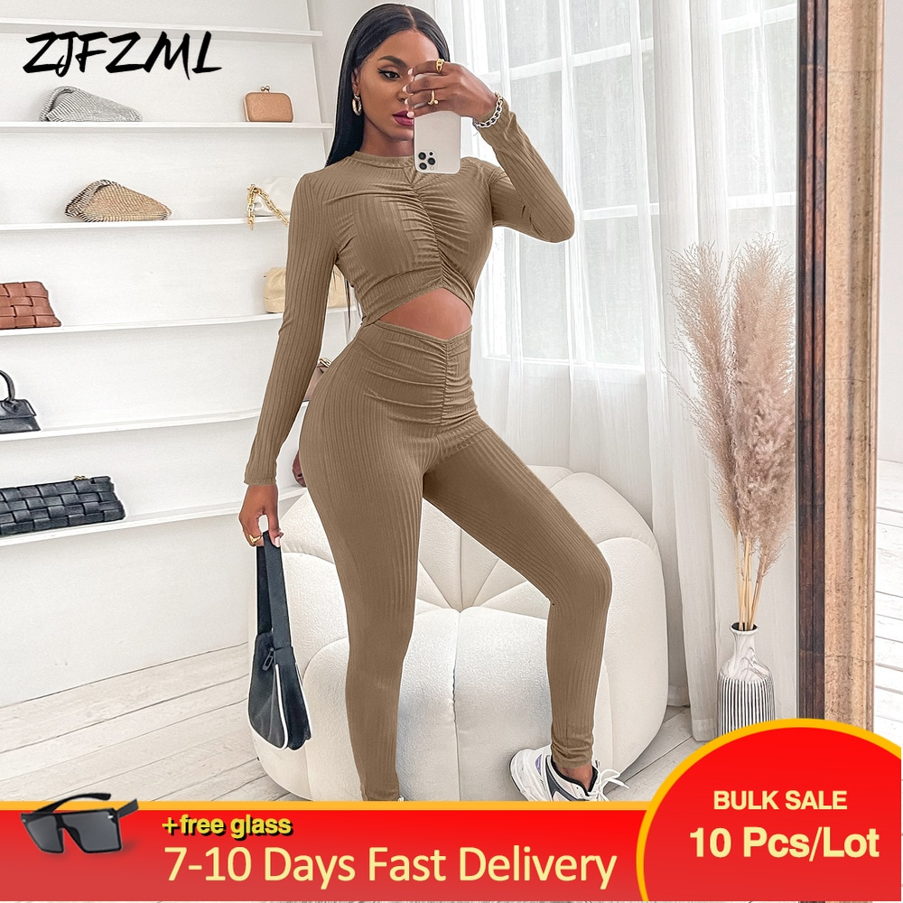 Bulk Wholesale Items Lots Solid Ruched One Piece Sporty Overall Casual Full Sleeve Hollow Out Tight Outfit Activewear Clothing