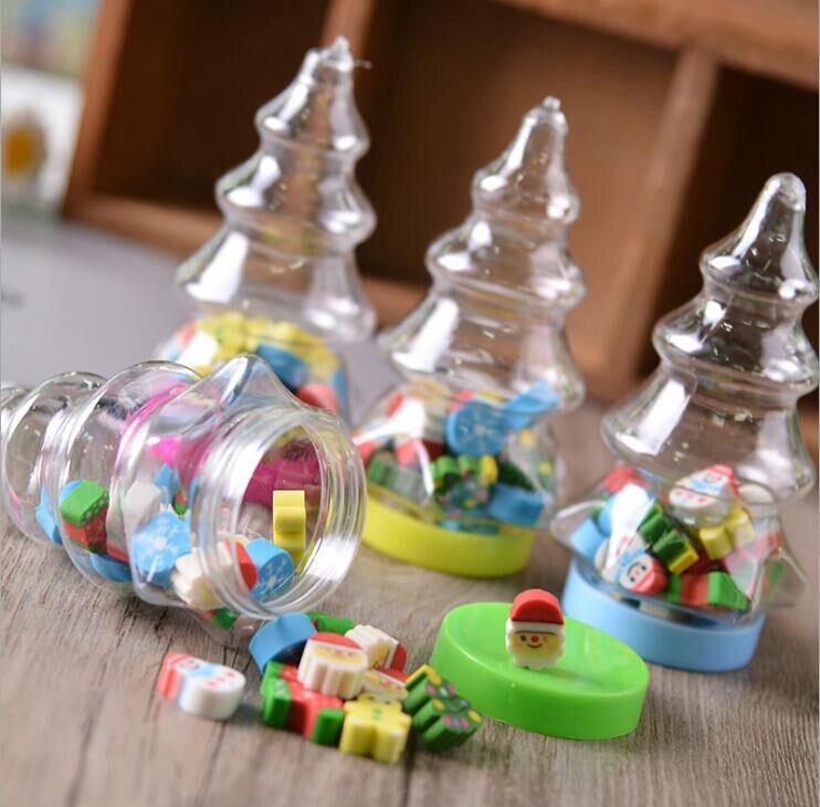 1 Bottle Mini Eraser Kawaii Students Stationery Christmas Santa Tree Cute Fruit Duck Animal Creative Gifts for Kids Color Random