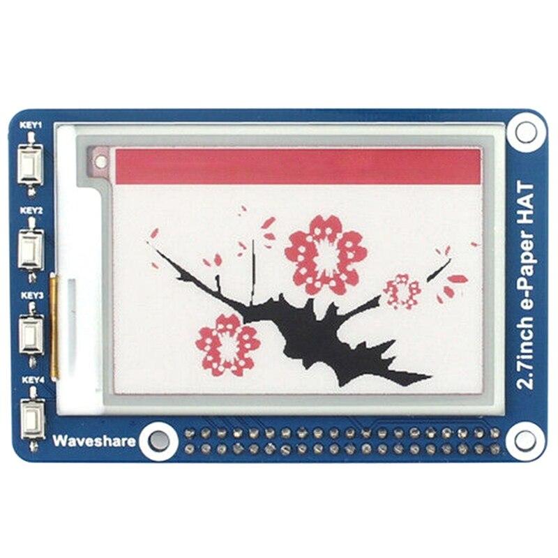 Waveshare 2,7 Inche-paper E-Ink display HAT 264X176, для Raspberry Pi 2B/3B/Zero W, три цвета: красный, черный, белый, SPI Interf