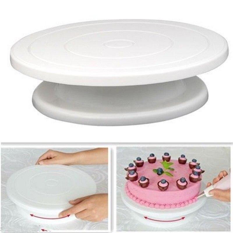Пластиковая тарелка для торта, вращающаяся Нескользящая круглая подставка для торта, вращающийся кухонный стол для украшения тортов «сделай сам», сковорода, инструмент для выпечки