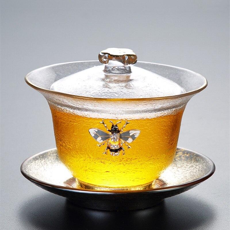 الذهب رسمت المطرقة نمط غطاء زجاجي السلطانية سميكة مقاومة للحرارة كوب شاي الكونغفو كريستال Sancai Gaiwan وعاء الشاي الشفاف