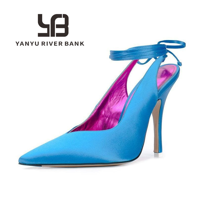 2021 Summer Woman Sandals Baotou Lace-Up Rome High Heel Shoes Fashion Silk Pointed Toe Party Sandals