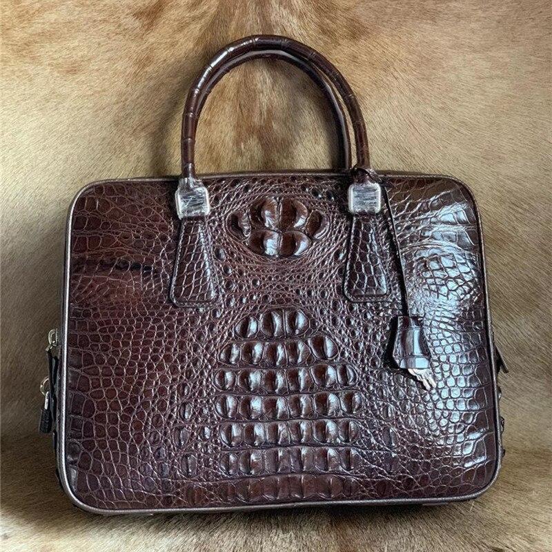 حقيبة جلد التمساح للرجال ، حقيبة جلدية حقيقية مع إغلاق للمفاتيح ، حقيبة سفر كبيرة لرجال الأعمال