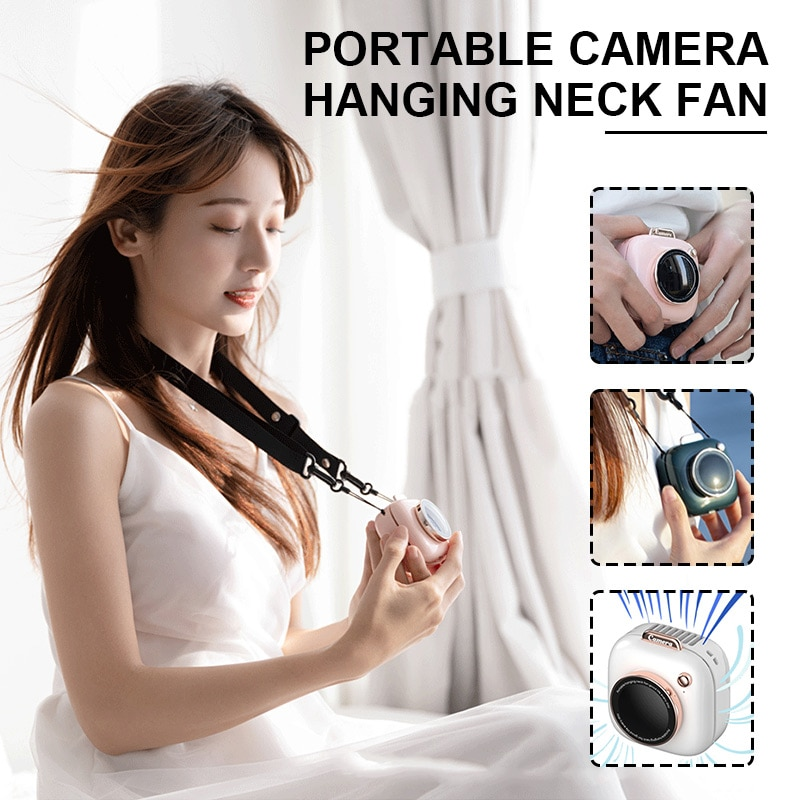 Mini Camera Shape Portable Handheld Personal Necklace Fans Speed Adjustable Rechargable Fan for Camping Office Cooler