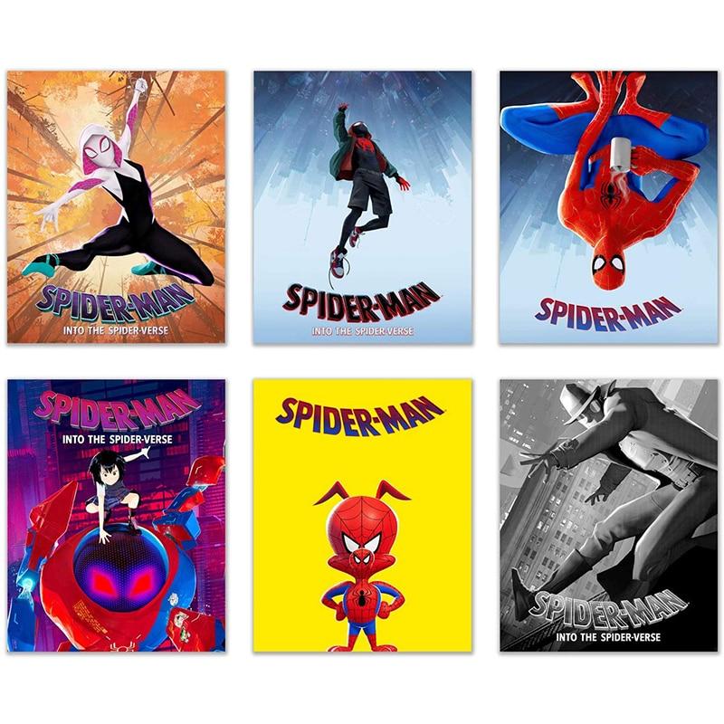 С героями комиксов Марвел, Человека-паука, постеры с супергероями и принтами Мстителей холст для живописи Wall Art женская обувь из парусины с п...