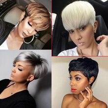 Peluca de fibra de alta temperatura para mujer, extensión de cabello, corte pixie, a la moda