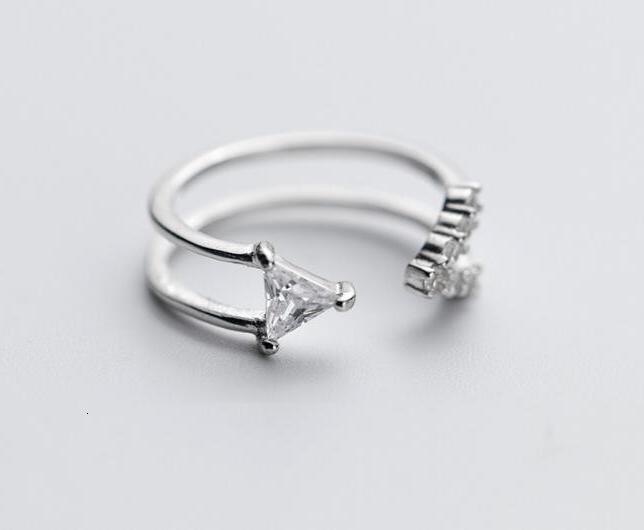 Аутентичные 100% Настоящее серебро 925 пробы с двойными рядами, регулируемые кольца с треугольниками, кольцо на палец средней длины, Size3-size 4 ...