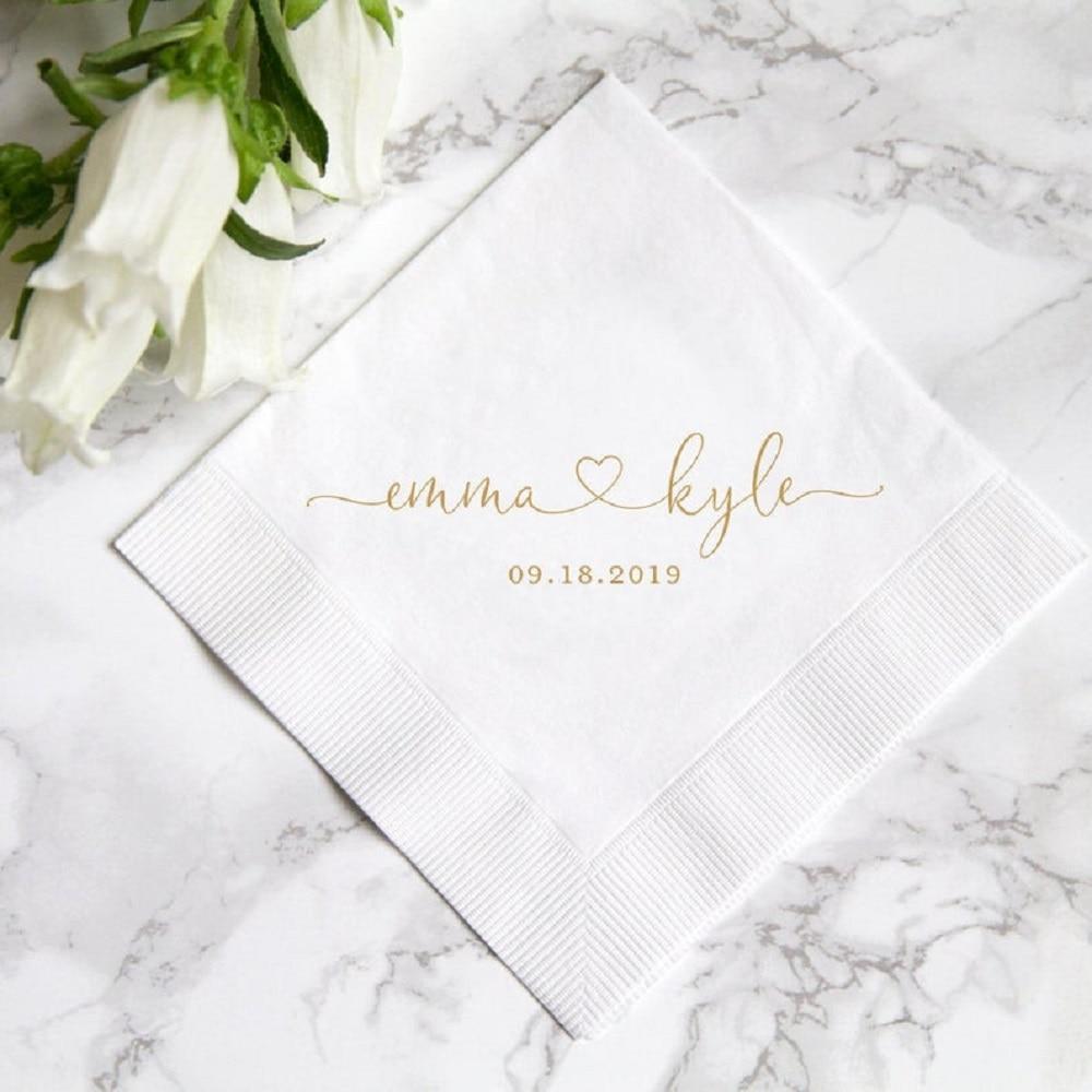 100 Personalized Heart Wedding Paper Napkins Custom Mr & Mrs Cocktail Beverage Paper Serviette Bridal shower Table Decor Napkins
