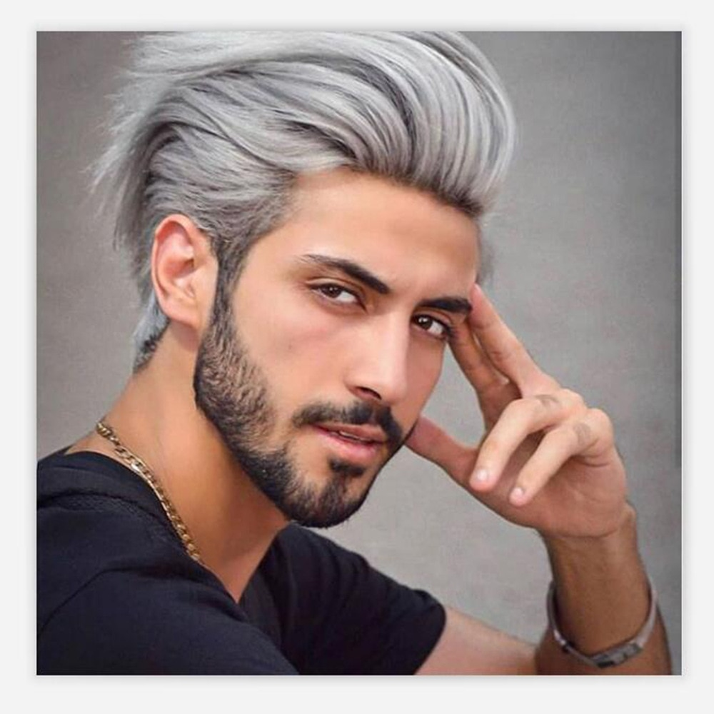 WHIMSICAL W Men Short Hair Synthetic Wigs for Daily Use Fashion Wig Ombre Male Natural Hair Heat Resistant Breathable