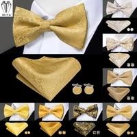 luxury silk mens bow ties pre tied bowtie hankerchief cufflinks set red blue gold green pink purple bowties adjustable wedding