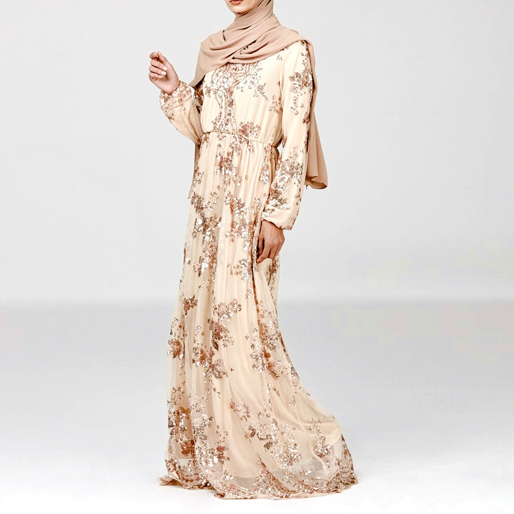 WEPBEL bordado Medio Oriente Dubai las mujeres Maxi largo vestido de lentejuelas de dos capas vestido de las mujeres ropa Abaya musulmana