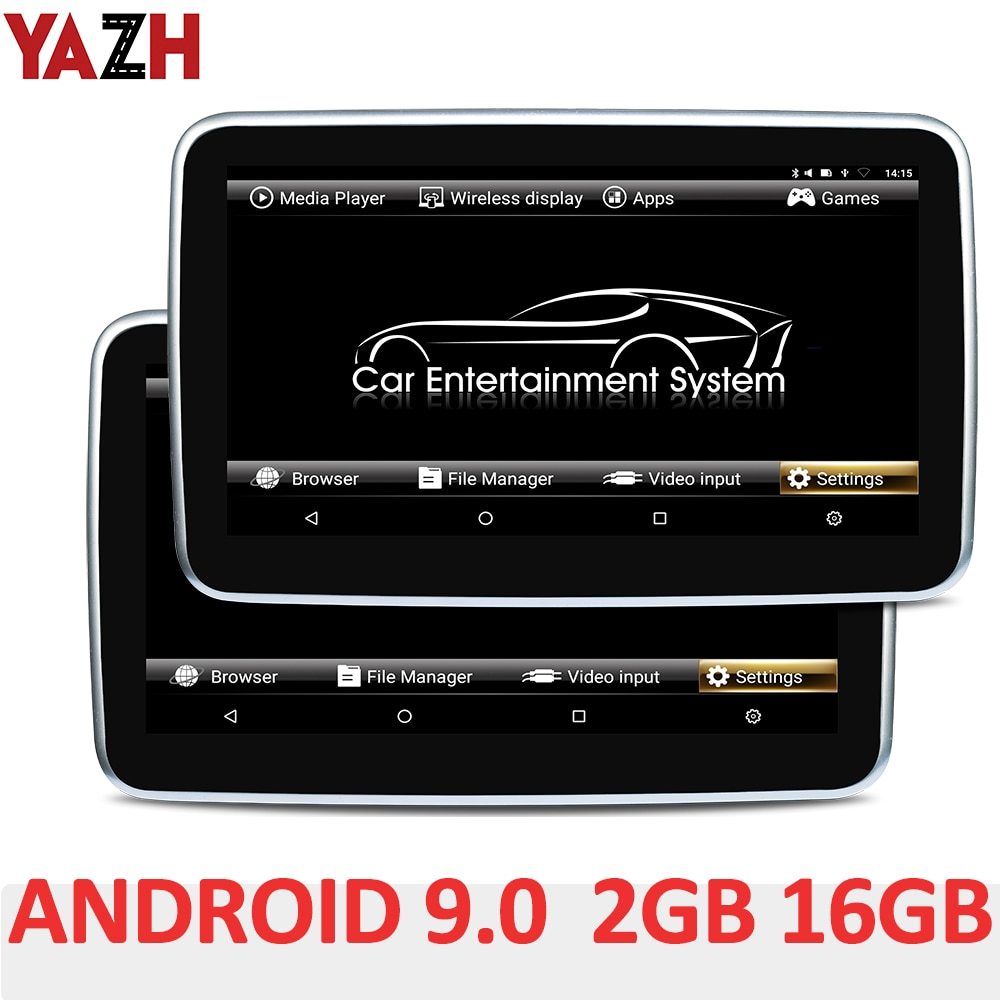"""YAZH 10.1"""" IPS 2GB 16GB Car Headrest Monitor With Android 9.0 Pie 1920*1080 HD 4K Video FM Transmitter Bluetooth HDMI In AV In 9 car headrest dvd video multimedia player monitor entertainment with usb sd game ir fm transmitter hd screen built in speaker"""