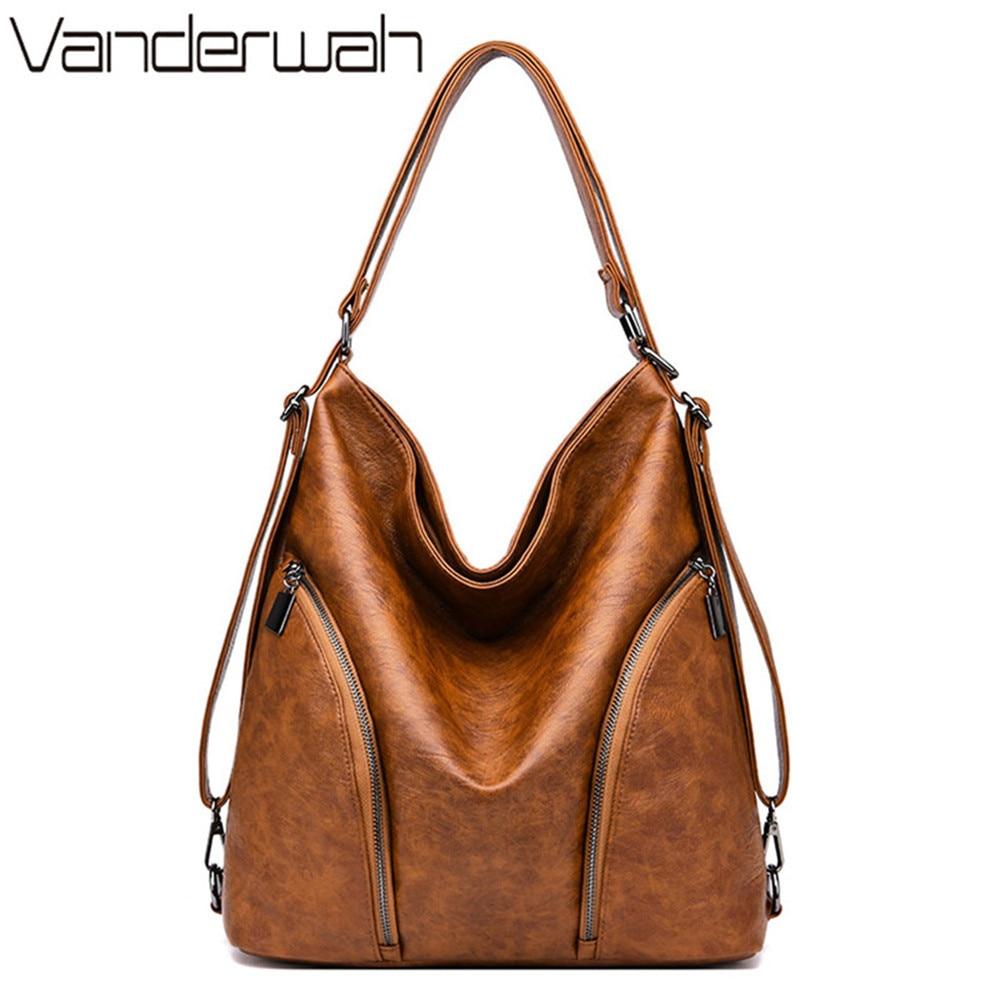 3-en-1 bolsa para dama de marca lujosa 2019 mujeres mochila Vintage de las mujeres bolsa de mensajero de hombro bolsas-bolsas con asa de saco un Dos