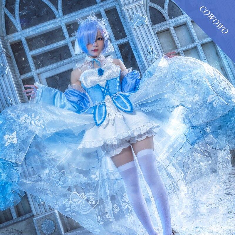 ¡Anime! Re la vida en un mundo diferente de zero Rem precioso vestido de novia cristal uniforme Cosplay traje 2020 nuevo envío gratis