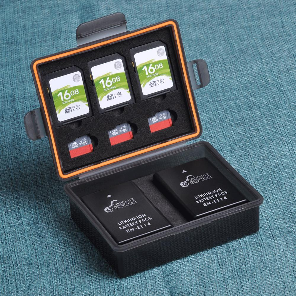 1pcs Battery Storage Box SD TF Memory Card Case for Nikon ENEL14,Canon LPE5,Panasonic DMWBLC12,Olympus P-BLS5,Samsung BP1030