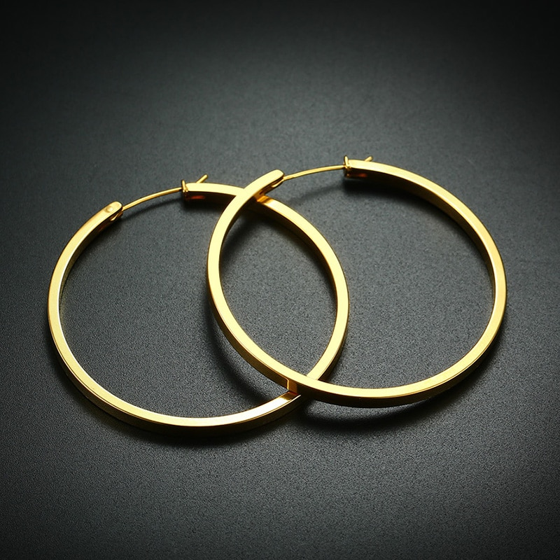 Vnox 50mm simples hoop brincos para mulher de aço inoxidável oversize círculo jóias punk candid acessório
