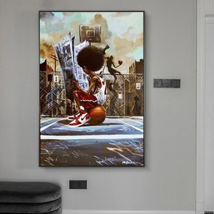 Street Art Posters and Prints Boy On Basketball Court Canvas Painting Inspirational Wall Pictures for Bedroom Decor Child's Gift