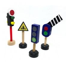 Livraison gratuite en bois feu de signalisation feu de signalisation panneau de signalisation signe de rue solide glisser mas petit train piste scène accessoires jouet