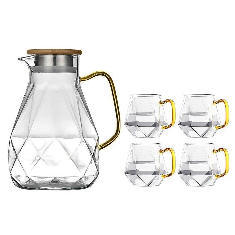 الزجاج المقاوم للحرارة Carafe مع غطاء مع 4 أكواب إبريق ماء في تصميم الماس الحديثة الديكور لغرفة المعيشة