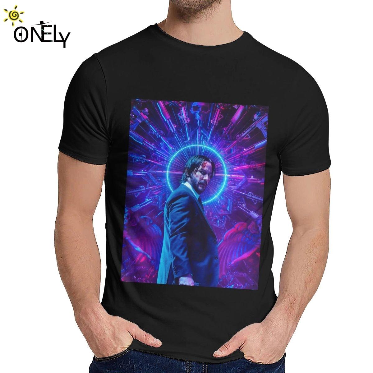 Suave John Wick película de acción Parabellum Keanu Reeves camiseta hombres Harajuku suave algodón moda o-cuello camiseta