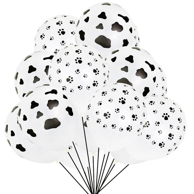 100Pcs 12 polegada Balões De Látex De impressão da pata do cão Da Cópia da Vaca Animal de Fazenda Feliz Aniversário Fontes Do Partido do casamento do Feriado de Engrossar balões
