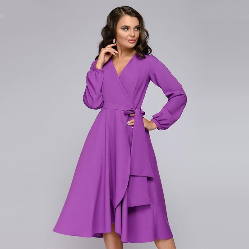 Vintage a Line Ruffles Party Dress Ladies Lantern Sleeve v Neck Sexy Elegant Dress 2019 Autumn Fashion Long Dress Vestidos
