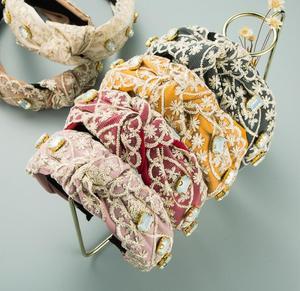 2021 new Korean fashion lace flower hairband women chiffon gauze fabric wide edge diamond cross-knotted hair hoop