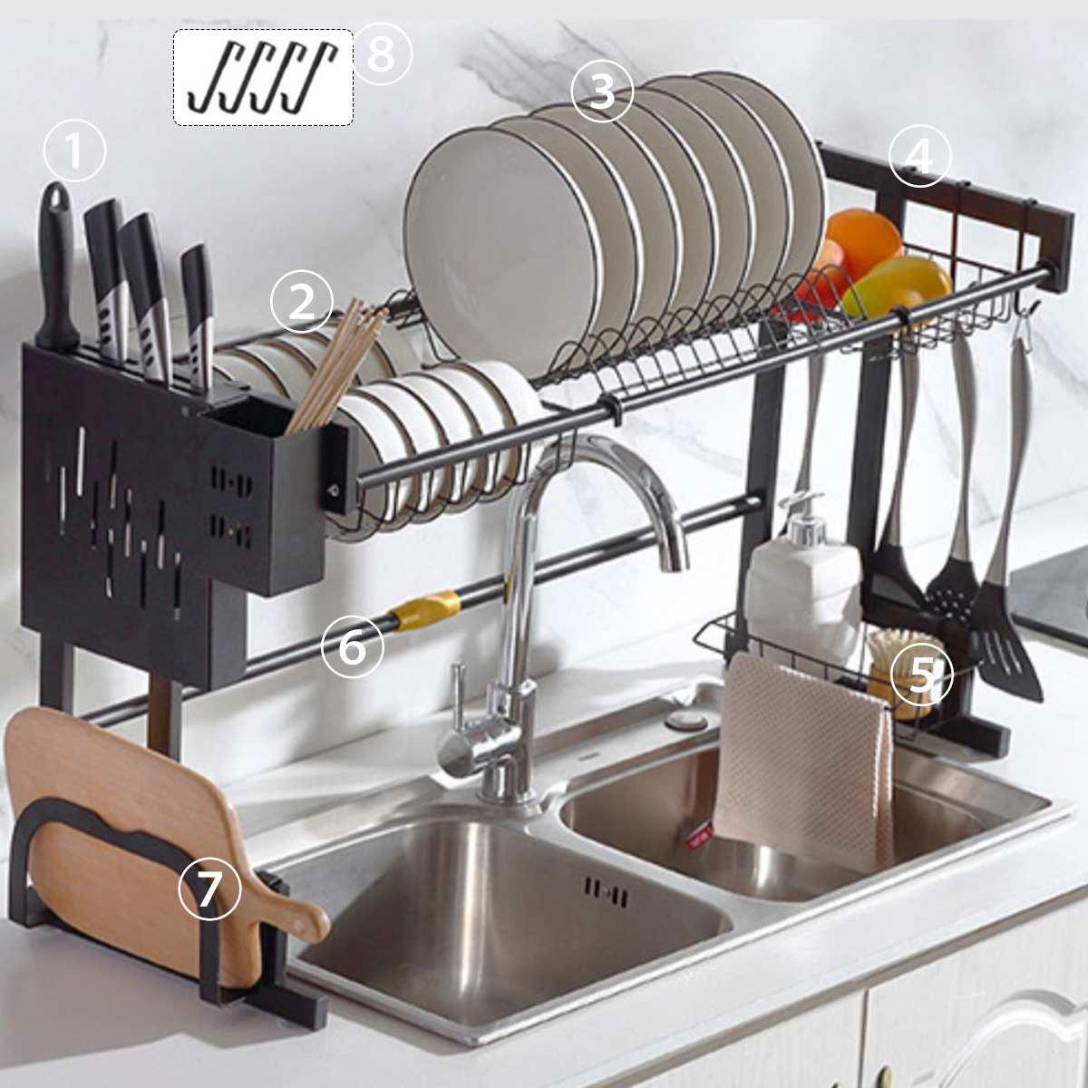 2 تيير طبق تجفيف الفولاذ طبق رف المطبخ تخزين الرف غسل حامل سلة مطلي سكين بالوعة تجفيف المنظم أدوات