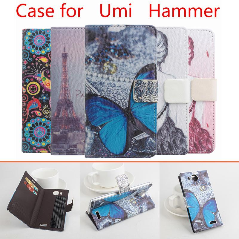 Umi 해머 지갑에 대 한 패션 가죽 케이스 umi 해머 나비 꽃 타워에 대 한 스탠드와 카드 홀더와 전화 케이스