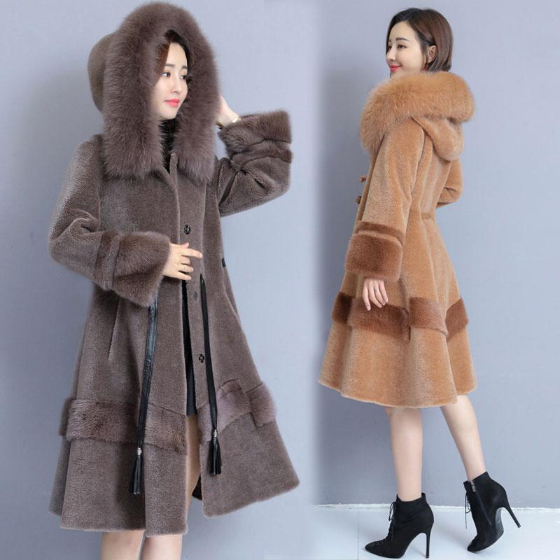 Abrigo largo de piel caliente para mujer 2019 abrigo de piel de imitación de invierno Parka Abrigo con capucha de oveja esquilado abrigos de Mujer temperamento de piel delgada abrigo