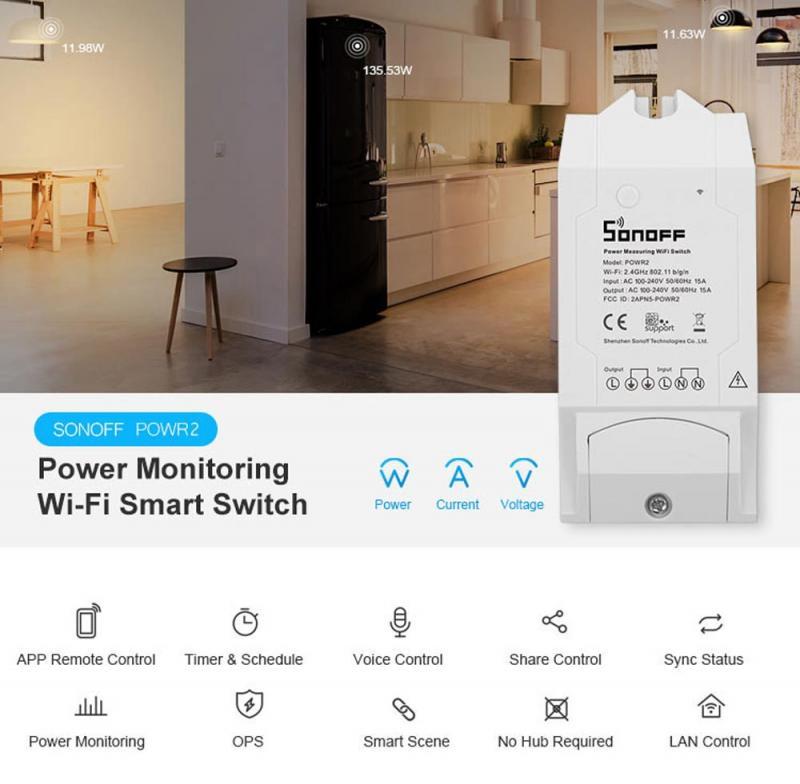 Itead sonoff powr2 interruptor de energia, interruptor de energia sem fio 5/8 w, 1/3500 peças uso via e-welink