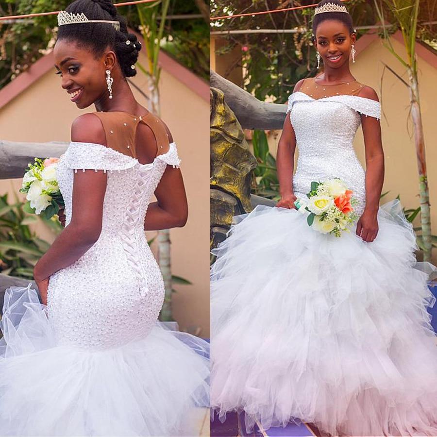 Top Sale Off the Shoulder Tulle Jewel Neckline Mermaid Wedding Dress  Beadings Ruffles Bridal Gowns 2020